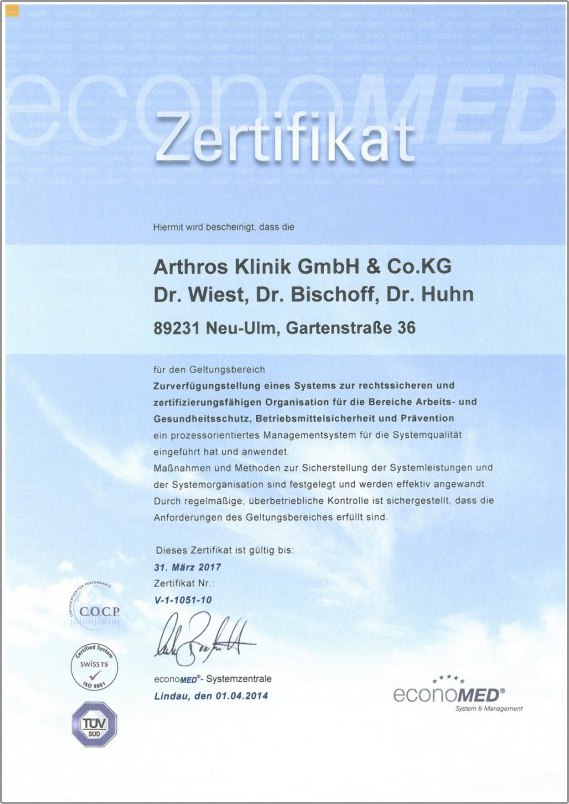 Zertifikat Arthros Klinik economed